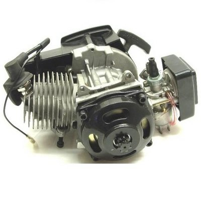 Compleet 47cc / 49cc motorblok met carburateur, KUNSTSTOF trekstarter en koppelingshuis voor DIKKE ketting